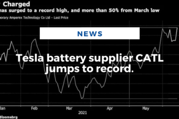 Tesla battery supplier CATL jumps to record.